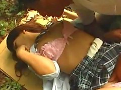 Schoolgirl Fingered Sucking Cock Fucked Creampie On A Cardboard In The Forest