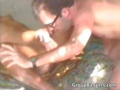 Double interracial sex with two ebony