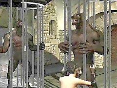 Yummy 3D cartoon brunette sucks on a werewolfs cock