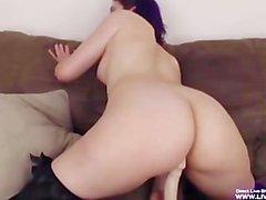Babe Alex masturbates her hairy violet pussy