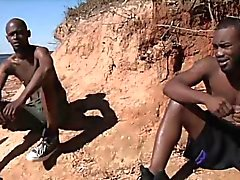 Gens chaud d'Afrique du font l'amour Gais Hardcore Jeunes dans le soleil