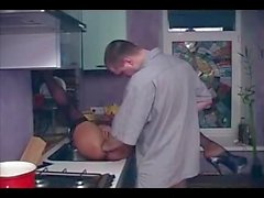 Sexy babe fisted and fucked in the kitchen