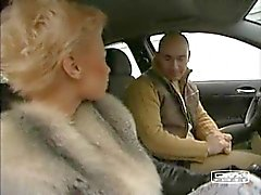Short haired french blonde suck and ride his cock