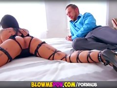 Blow Me POV - Inked Milf Seduces Step-Son with Hot Blowjob