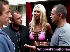 Amateurs in group sex with real mature Dutch hooker