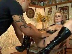 busty blonde Denice Klarskov is a real dirty whore
