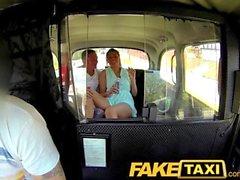 FakeTaxi Fun time couple in backseat taxi threesome