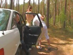 Amazing chick threesome in the car