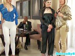 Glam lezdom fingerfucking three bigtitted dykes