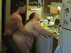 very fat wife having sex in the kitchen