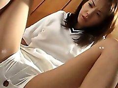 Smiling Japanese korean girl enjoys sex