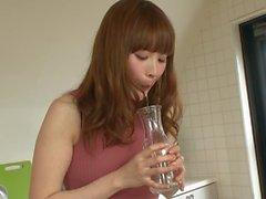 japanese girl drinks her friends saliva