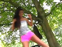 Ebony teen old man Vivien meets Hugo in the park and can't s