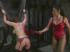 Busty slavegirl put into bondage so tight that her tits grow black