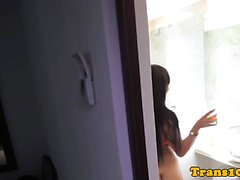 Venezolana tranny beauty taking sexy shower