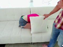 Petite Alice March takes a poundingPetite bruntte