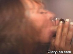 Mature Amateur Blowjob And Cumshot Through Glory Hole