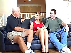 Husband watches as muscle hunks rams wife's pussy on a couch
