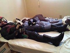 Skarp strumpa i hjälm , feminin läder motorcykel Equipme