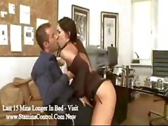 Brunette secretary Mya Diamond blows the boss and rides his cock
