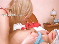 Russian teenie getting kinky with teenie