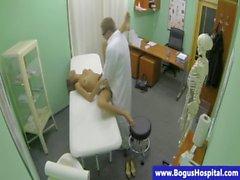 Real doctor bangs his petite hot patient