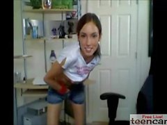 Teen student showing everything on webcam