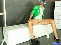 Masturbating gloryhole teen with sexy legs