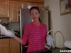 Petite Latina maid Veronica Rodriguez shows her assets