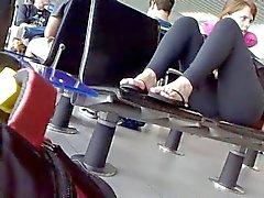 nera legging di siede