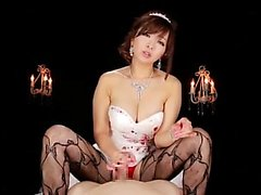 Asian Girl In Lingerie Giving Handjob to a Blindfolded chum