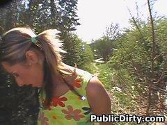European Amateur Slut Sucking Dick Outdoors In Public