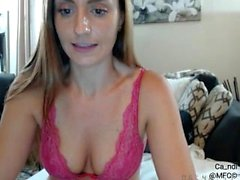 Busty girl teasing and toying on webcam
