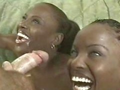 Blue-eyed ebony twins fucked by a white dude