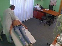 Hot blonde pussy fucked by fake doc on examining table