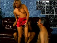 Two older studs and buff vixen engage in hot oral play and strapon fucking in a wild bisexual threesome