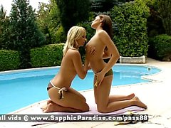 Zara and Candie blonde and redhead lesbians kissing and touching