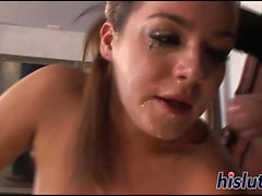 Busty Natasha gags on a massive member