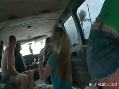 Teen amateur girls having a bus 3some get jizzed