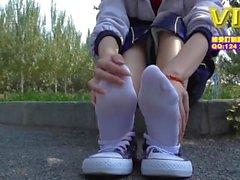 Азиатского белых носках