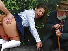Slutty schoolgirl pounded in bus stop