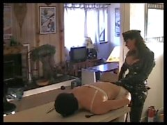 catsuit uniform mistress strapon fucking a guy hard in the kitchen