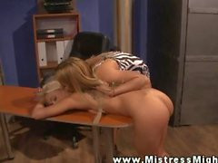 Dyke LEZDOM domina penetrating sub with dildo