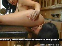 Two brunette sluts in the kitchen