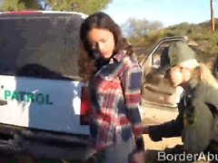 Border officers team up to fuck a beautiful Latina teen