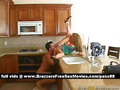 Amateur blonde wife on the kitchen table gets her pussy fucked hard
