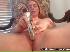 Busty amateur Kalis on hot masturbation