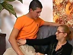 Anal Granny in Stockings gets Cum on her Glasses