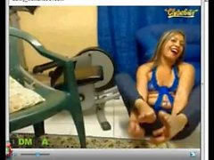 Mlif Show her Soles Foot & Bastinado&Footjob&Tickle her Foot on Webcam