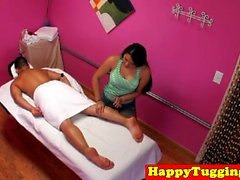 Longhaired asian masseuse spoiling dong